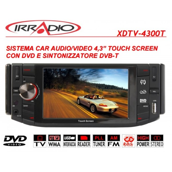 "Autoradio IRRADIO monitor 4,3"" touch screen DVD USB SD digitale terrestre  DTV 4300T"